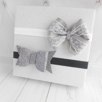Модные повязки для малышки Набор украшений для волос девочке на фотосессию Подарок на год ребенку