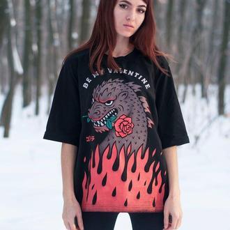 Женская футболка с принтом Be my Valentine
