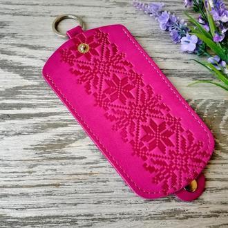 Ключница розовая вышиванка