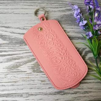 Ключница цвета пудры (розовая) восточные узоры