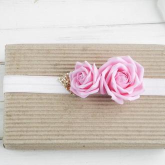 Повязка для волос с розами, Красивая повязка для девочки, Подарок малышке