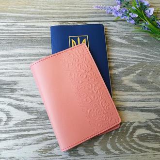 Обложка на паспорт цвета пудры (розовая) восточные узоры