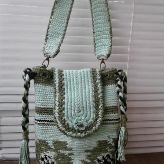 Вязаная летняя сумка Мята