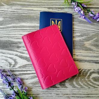 Обложка на паспорт розовые сердечки