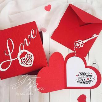 "GiftBox ""Heart key"" - открытка в коробочке"
