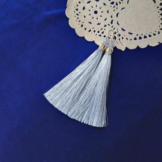 Серьги кисти , серо-голубого цвета