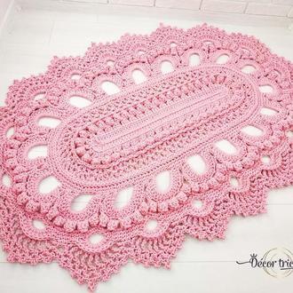 Овальный коврик в детскую, розовый коврик из шнура, ажурный ковер