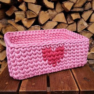 Корзинка с сердечком, вязаная корзинка для хранения из шнура