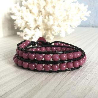 Кожаный браслет в стиле Chan Luu с розовыми бусинами