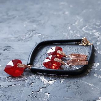 Комплект з кристалами Swarovski серце червоне браслет с кристаллами Сваровски серьги подарок девушке