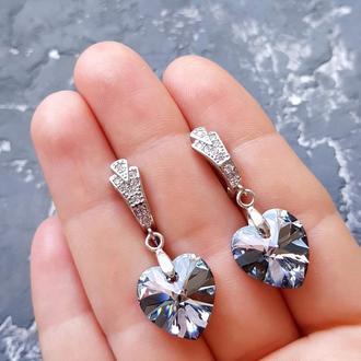 Сережки з кристалами Swarovski та цирконами серьги сердце подарок девушке