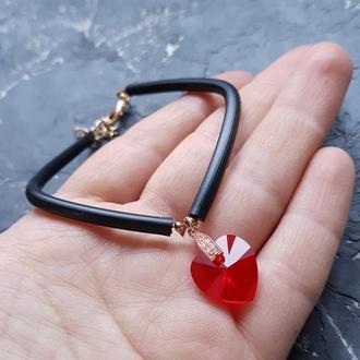 Колір на вибір! Браслет з кристалом Swarovski серце подарок на день влюбленных 8 марта девушке жене