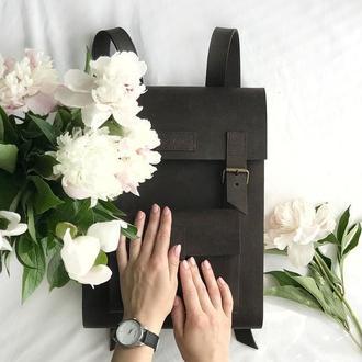 • Повседневный рюкзак из натуральной кожи и дерева •