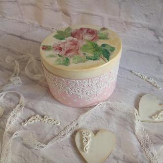Круглая деревянная шкатулка с розами Винтажная шкатулка для украшений с кружевом Нежно-розовая