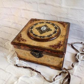 Большая деревянная шкатулка для украшений Винтаж Барокко Шкатулка с диадемой кошачий глаз