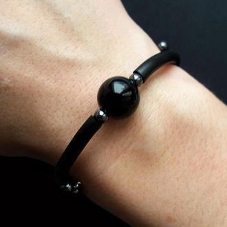 Черный браслет в стиле минимализм с бусиной агата. Подарок девушке.