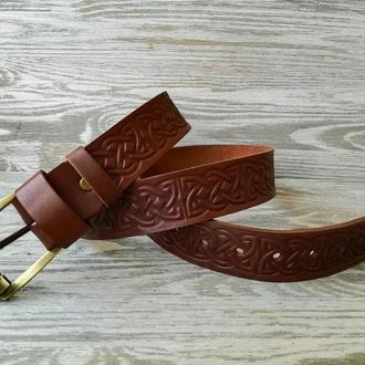 Кожаный ремень коричневый кельтский узел 3,7 см