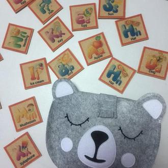 «Азбука» анг. по типу Монтессори и Сумка- медведь для хранения