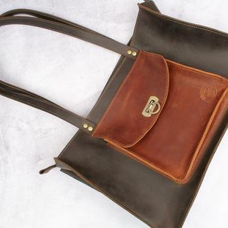 Коричнева сумка на плече