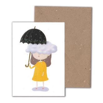 Открытка с конвертом девочка с зонтиком, посткросинг
