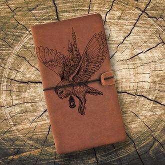 Блокнот из кожи, Гарри Поттер, Сова, Записная книжка, Скетчбук, Блокнот с гравировкой