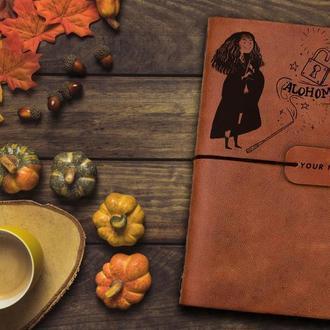Блокнот из кожи, Гарри Поттер, Гермиона, Записная книжка, Скетчбук, Блокнот с гравировкой, Блокнот