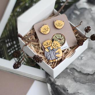 Комплект брошка сережки котики