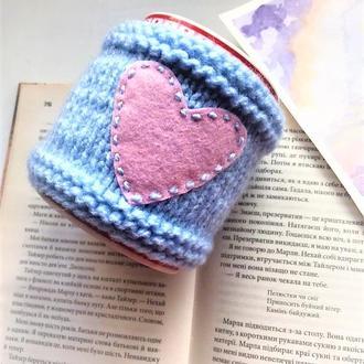 Чехол, теплушка  на чашку, грелка на чашку голубая с сердечками