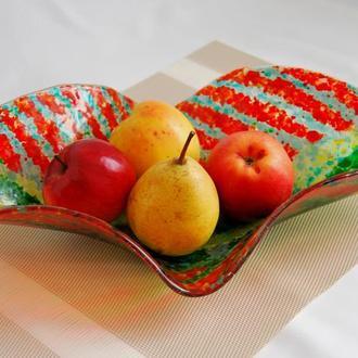 """Большая тарелка для фруктов """"Тропический листок"""", фьюзинг."""