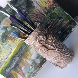Ваза (подставка) интерьерная для кистей и карандашей. Оригинальный подарок художнику.