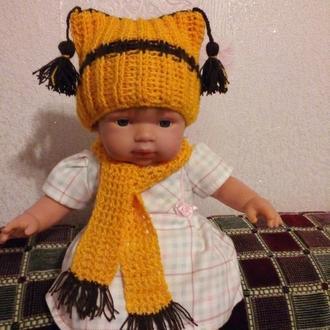 Шапка і шарф для ляльки, пупса 38-42 см