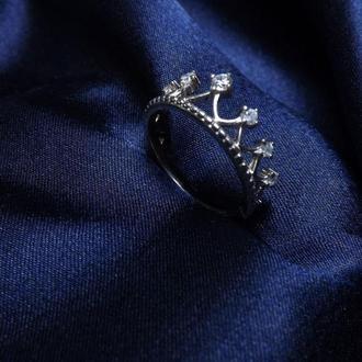 "Кольцо ""Корона"", серебро, подарок девушке, любимой"