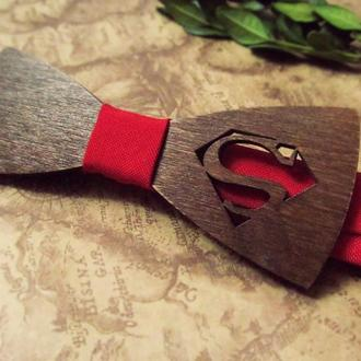 """галстук-бабочка """"Супермен"""" из дерева"""