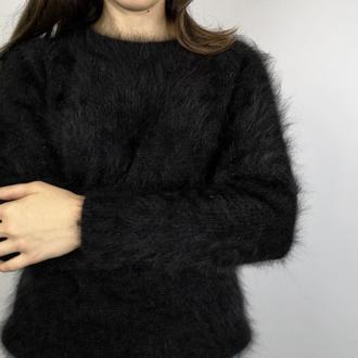 Чёрный джемпер свитер ангора кролик пушистый мягкий Италия Biagioli Modesto Angora 80
