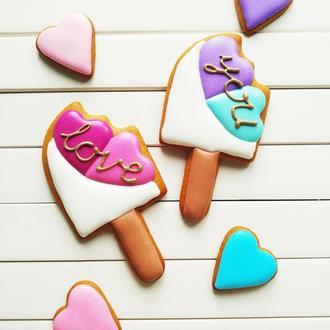 """Пряники """"Мороженки на палочке LOVE YOU"""""""