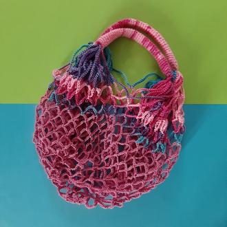 Авоська розовый - переходы розово-голубого, сумка для покупок, экосумка