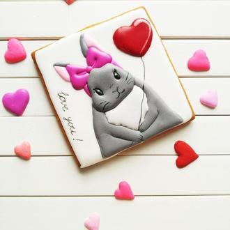Пряник медовый Зая с сердечком