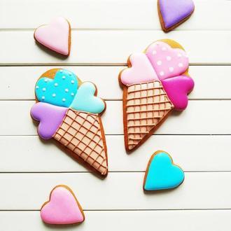 Пряники на заказ Мороженки с сердцами (набор)