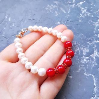 Браслет з натуральними перлами та коралами подарок на день влюбленных 8 марта жене девушке