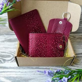 Подарочный набор из натуральной кожи фиолетовые восточные узоры