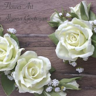 Свадебный гребень и бутоньерка «Белая классика»