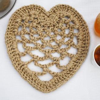 Салфетка подставка сервировочная под горячее из джута Сердце