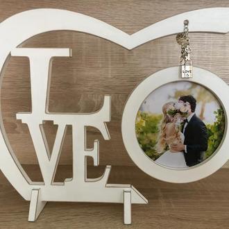 Фоторамка LOVE деревянная  27х20 см (фото 9,5 см)