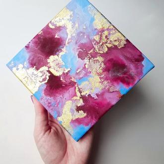 Мини картина в подарок,флюид-арт,день святого Валентина