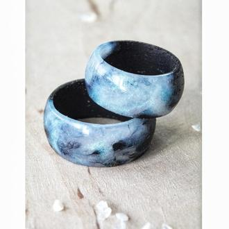'ПЕРЛАМУТР',  кольцо из дерева и ювелирной смолы, парные кольца, для мужчины и женщины, подарок