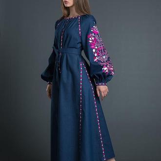 """Дизайнерська вишита сукня """"Дерево Життя"""" з клинами 00101"""
