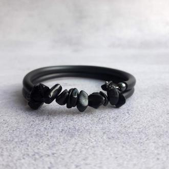 Черный браслет с натуральными камнями. Подарок девушке.