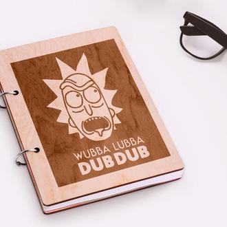 """Блокнот в деревянной обложке """"Wubba Lubba Dubdub"""""""