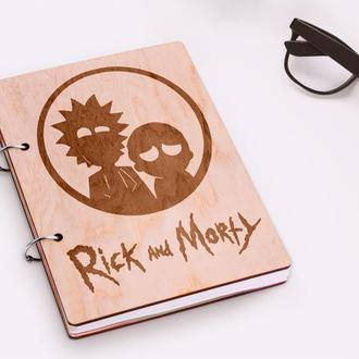 """Блокнот в деревянной обложке """"Rick and Morty"""""""