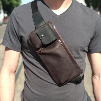 Мужская сумка через плечо (натуральная кожа crazy horse)